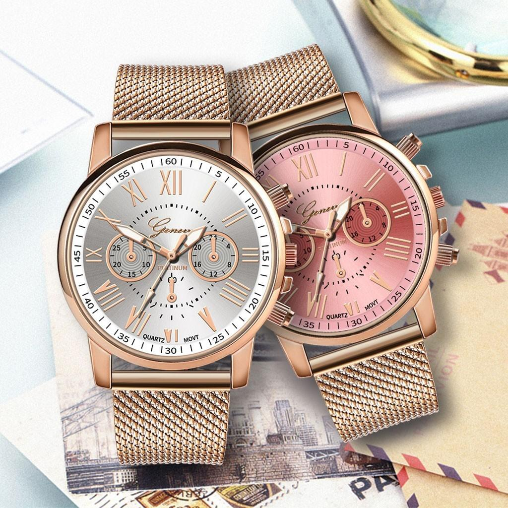 Stainless Steel Strap Watches For Women Luxury 2020 Rose Gold Dial Quartz Wrist Watch For Ladies Bracelet Reloj Mujer Relogio C0227