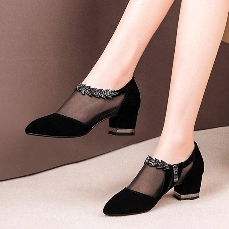 Artı Boyutu 35-43 Kadın Elbise Ayakkabı Sivri Burun Sandalet Boot Yaz Örgü Çıplak Çizmeler Yüksek Topuklu Zip Siyah Pompalar Mujer 8091N