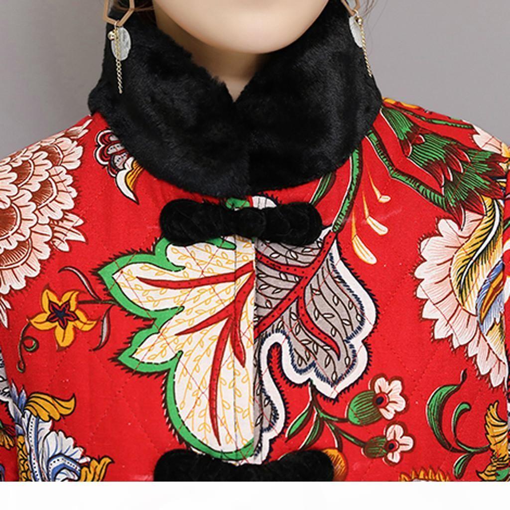 Schlussverkauf! Hohe Qualität Frauen Folk-Custom Floral Print Samt Vintage Lange Windjacke Jacke Parka Mantel Neue Ankunft