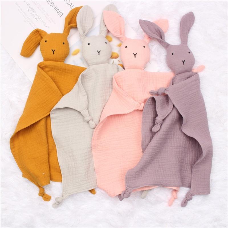 아기 유기농면 거즈 위안 타월 아이 토끼 인형 버프 천으로 자고 다채로운 장소 타월 14ZD B3