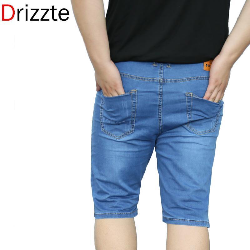 Denim Blue Brands Mens Tamaño Hombre Hombre Estiramiento Grandes Jeans Cortos Grandes Pantalones Venta al por mayor-Drizzte Jeans 28-48 Masculino oscuro Azul Luz Aplxn