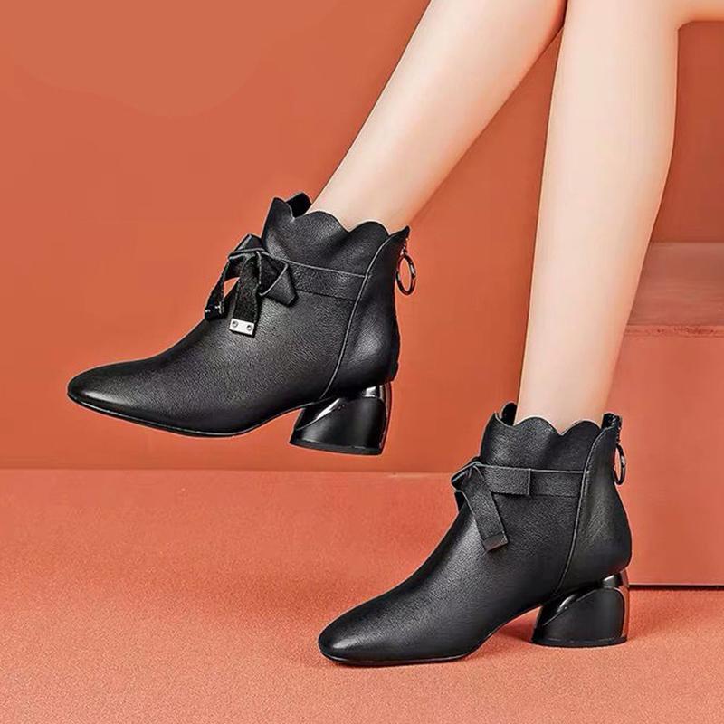 Женские ботильонные ботильоны 2021 осень зима обувь Med каблуки голые ботинки носовые платья обувь женские ботинки волна белый ботас Mujer 8318n