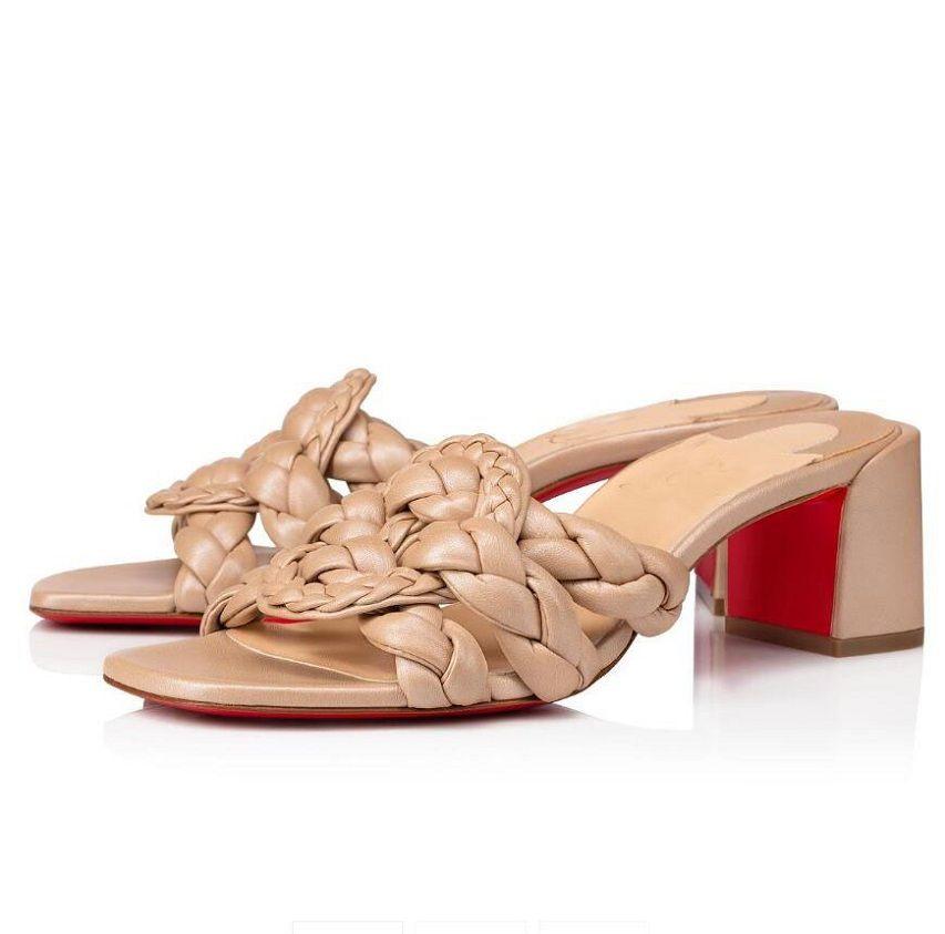 Concepteur parfait Marmela Pantoufles Mode Femmes Sexy Femmes Marques Red Fond Mules Sandals Lady Chunky Heels Heels en plein air Dispositifs de plage occasionnels UE35-43