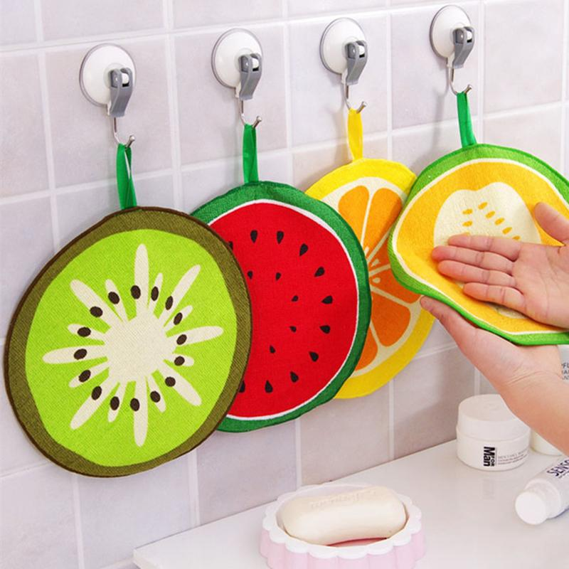 Hanging Kitchen Absorbent Wipes, Hand Towel, Bathroom Quick-drying Cute Fruit Printed Dish Cloths, Napkins, Cleaning Wipes
