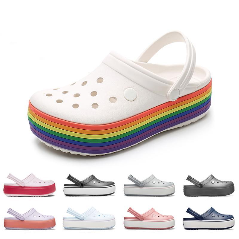 여름 신발 여성 구멍 플랫폼 오염 무지개 샌들 수영장 해변 야외 가든 레이디 캐주얼 물