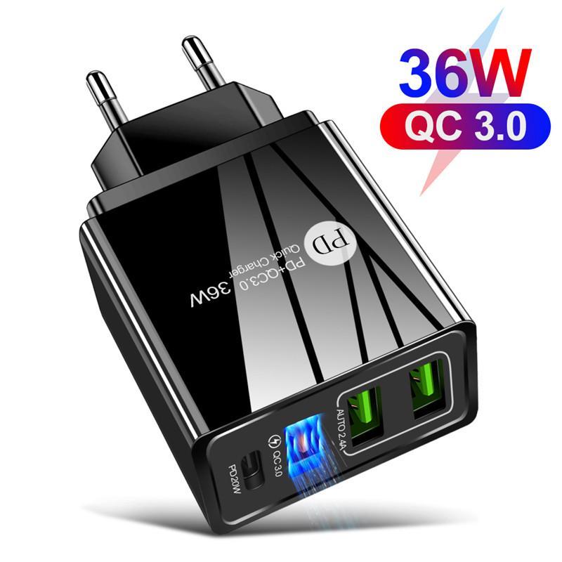 36W + QC3.0 2.4A 듀얼 USB 고속 충전 휴대 전화 충전기 PD 충전 헤드 여행과 함께 다중 포트