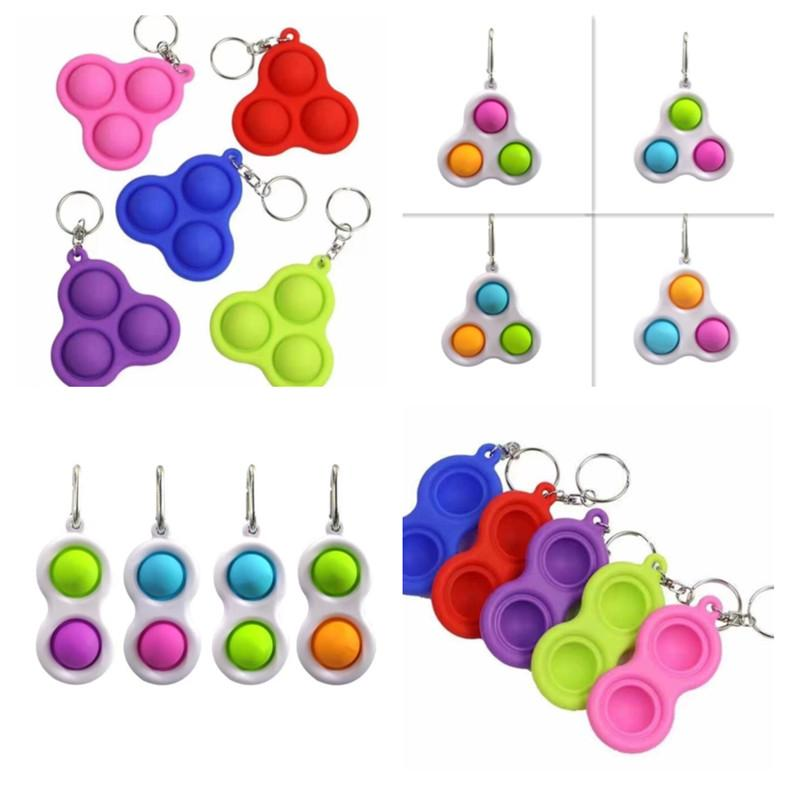 Mini Push Pop Fidget Keychain Toy,Push Bubble Gadgets and Sensory Gadgets,Simple Dimple Anti-Anxiety Silicone Extrusion Decompression,for Adults and Children. Green