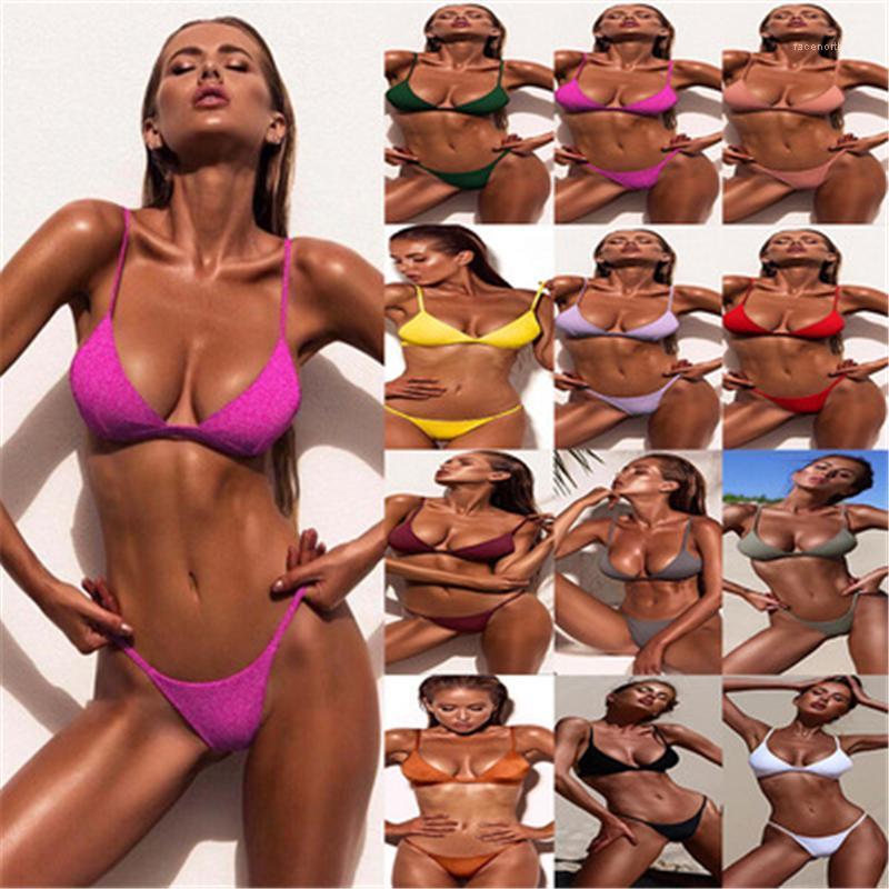 Trabajo de baño Tendencia de la moda Reúna el pecho Sling Sujetadores Splits Split Bikini Traje de baño Verano Femenino NUEVO Playa Sexy Bikini Sets Mujeres Colores sólidos