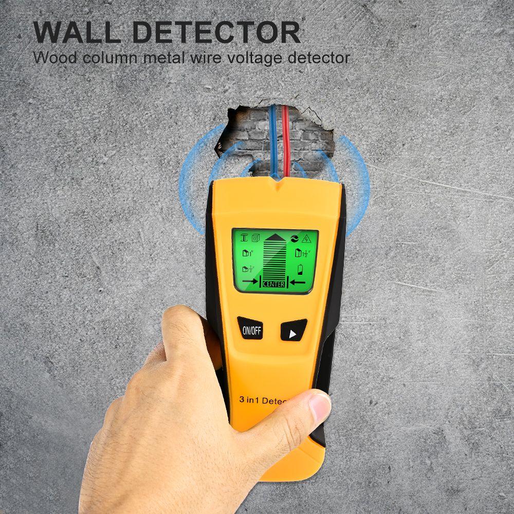 Rilevatore di metallo 3 in 1 Rilevatore di metallo Trova i borchie di legno di metallo AC Tensione di tensione Live Rilevatore a muro Scanner elettrico Finder Rilevatore di parete
