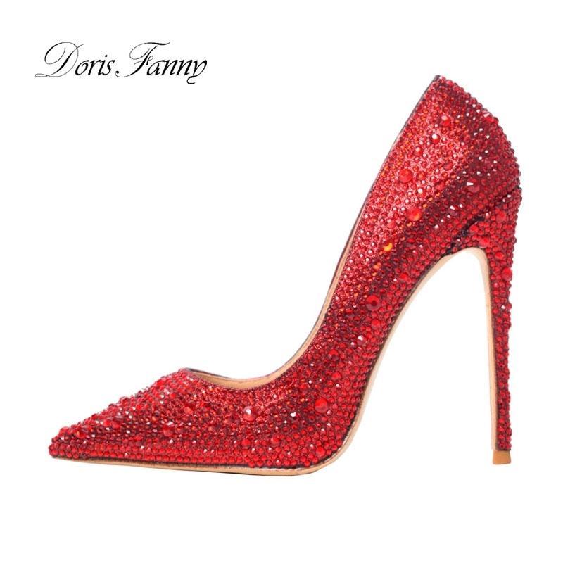 Doris Fanny Stiletto Schuhe Frau Rote Kristalle Frau Hochzeit Schuhe Braut Sexy Party Schuhe Für Frauen High Heels Pumps 210301