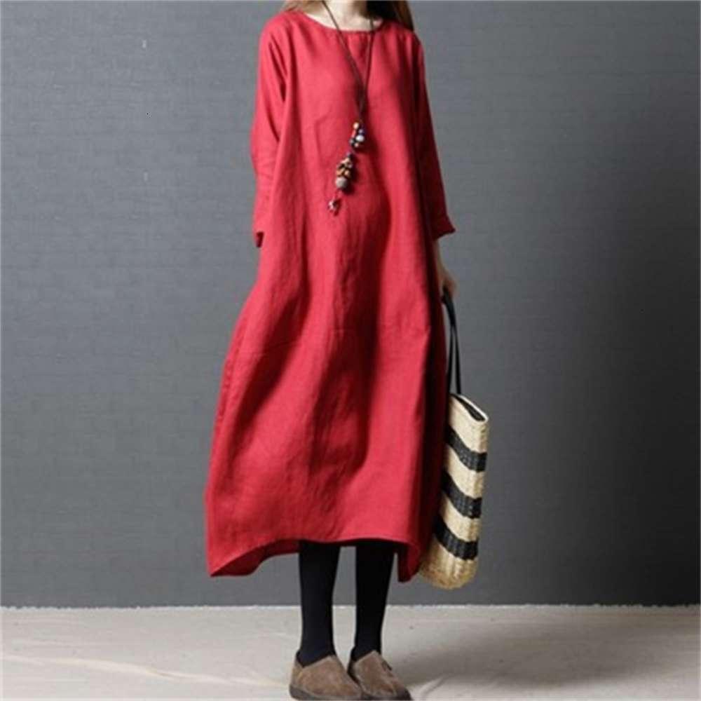 2021 robe de printemps et d'automne taille en vrac coton chavre à manches longues col rond col