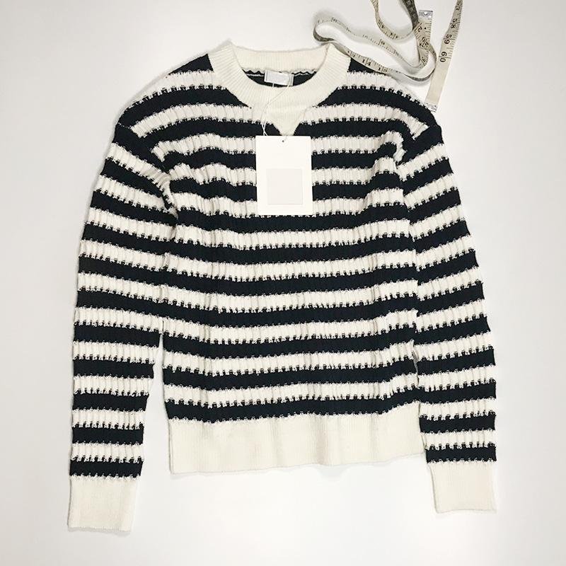 2021 Milan Style Spring Summer Brand Mismo Sweater Sweater Blanco Striped Pullover Imprimir Regular Manga Larga Ropa Mujeres Xue