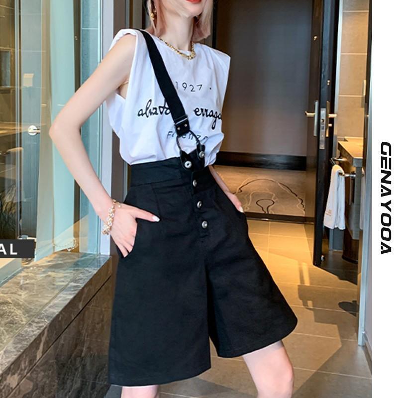 Pantaloncini da donna Genayooa Streetwear Viaggi per le donne Denim Jeans sciolto Jeans Irregolari Vita alta Feminino Coreano Estate