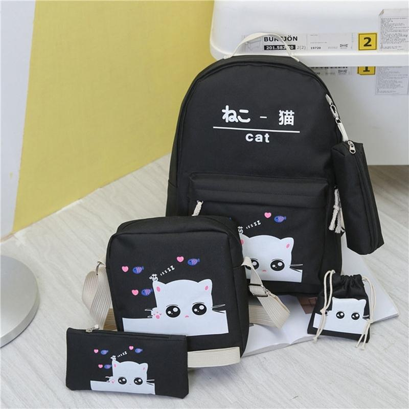 4 Pcs/Set Cute Cat School Bag Shoulder Stationery Bag Handbag Coin Purse Set Children Girls Cartoon Cat School Backpack Hand Bag Y0125