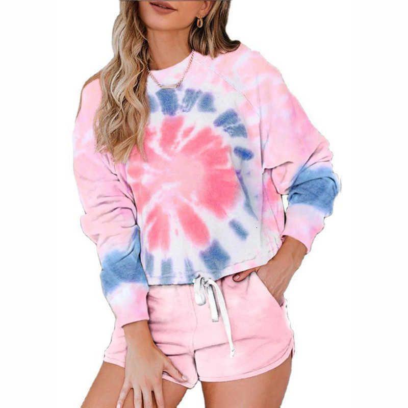 Damen Shorts Casual Tie Dye Print 2 Stück Sets Frauen Sommer O Hals Langarm Lace Up Tshirts + Elastische Taille Slim Damen Pyjamas SUI B22B