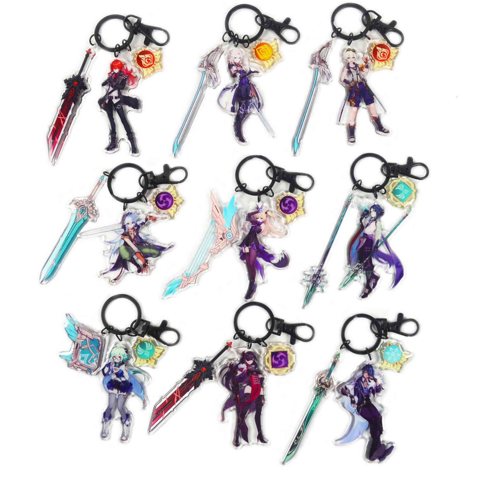 Cartoon keychains Genshin Impact Eye of God Acrylic Keychain Anima Game Zhong Li Peripheral Key Chain Cute Pendant Accessories Keyring