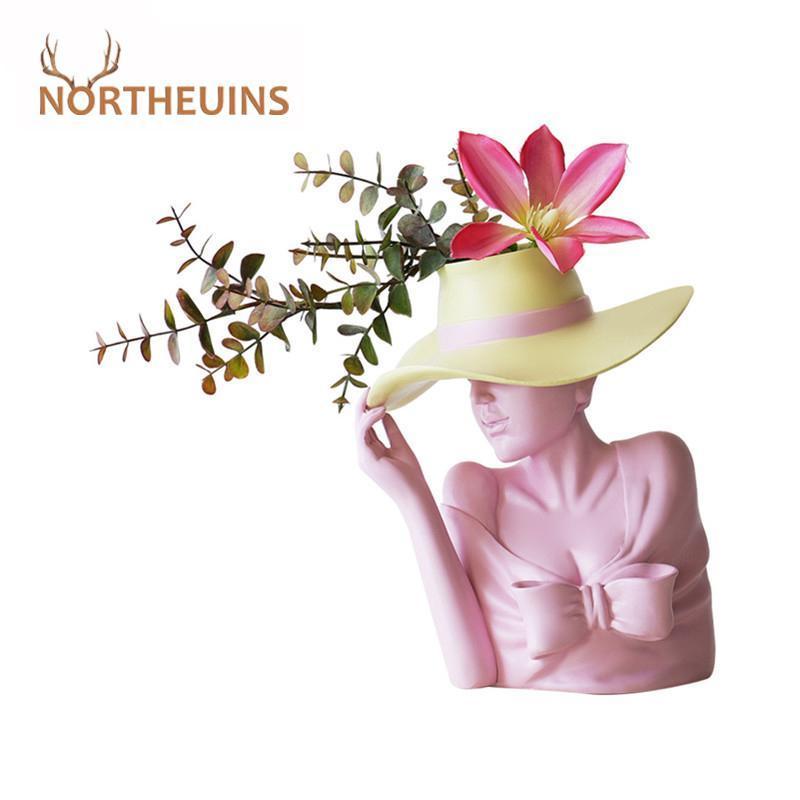 Northeuins смола креативная красота цветок ваза фигурки белый нордический голову человеческой головы цветочный горшок со статуей столик декоративная скульптура