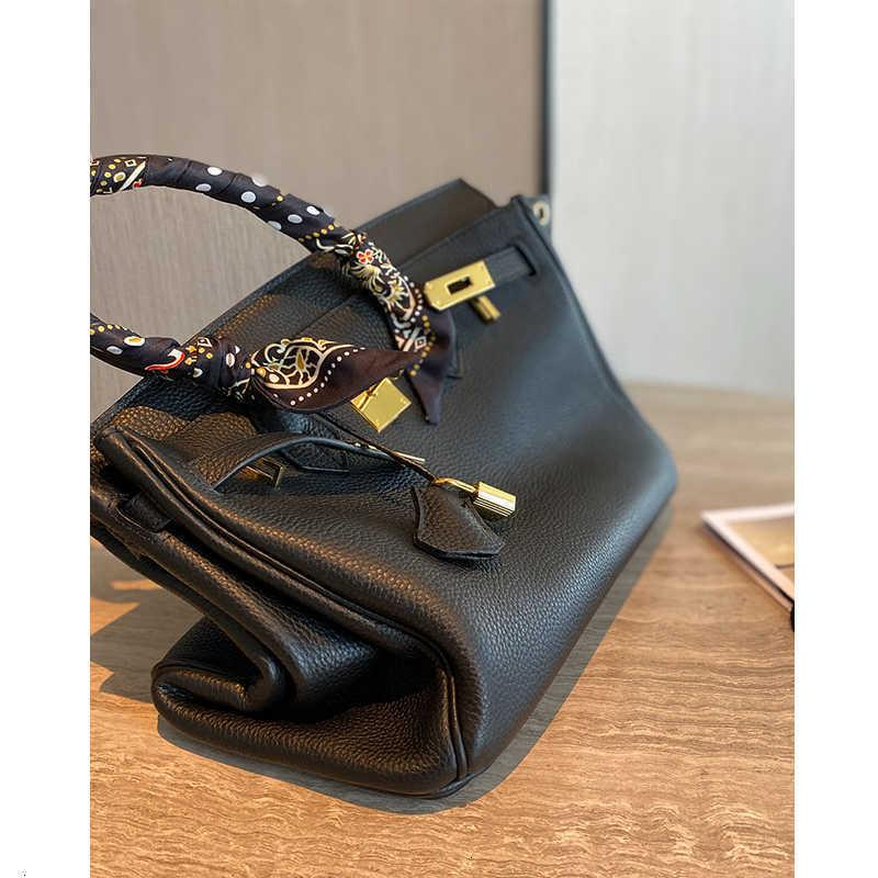 Yixxi Customized Upgraded First Layer Cowhide Black Birkin Genuine Leather Large Capacity Portable Shoulder Bag All-Matching