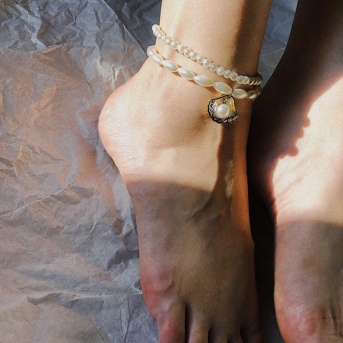 Takı çok yönlü plaj çok katmanlı boncuklu ayaklar kadın basit inci geometrik yaratıcı kabuk halhal