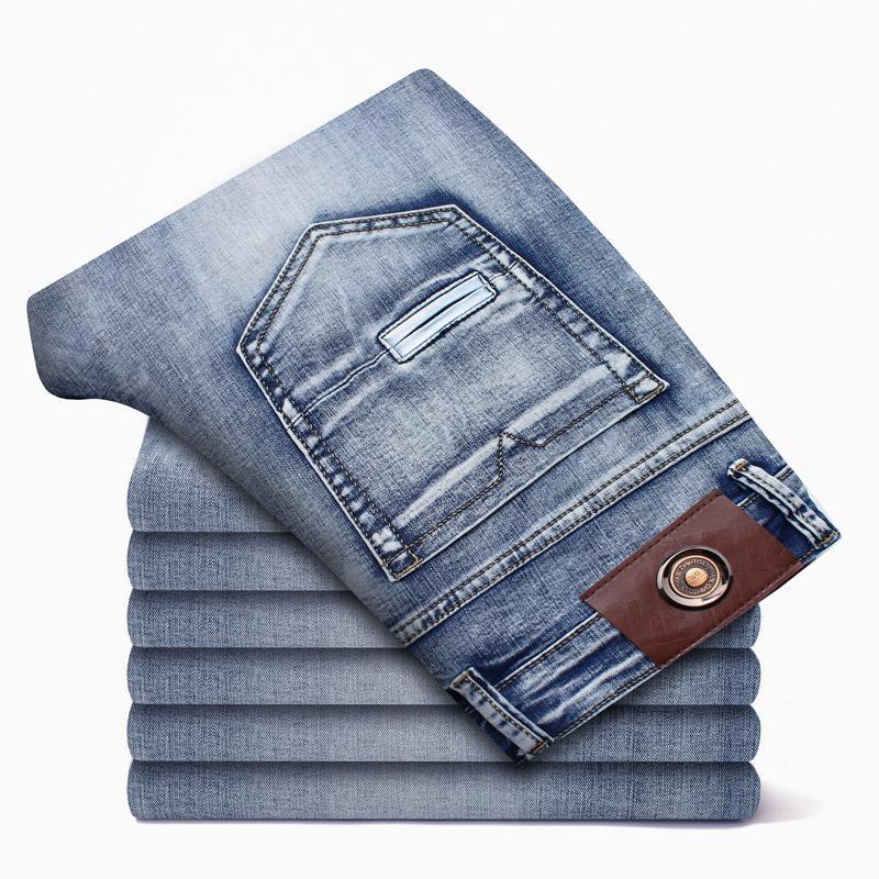 2021 Autumn Spring Brand lavou calças de brim fino para homens calças casuais Nova chegada moda plus tamanho 40 42 44 46