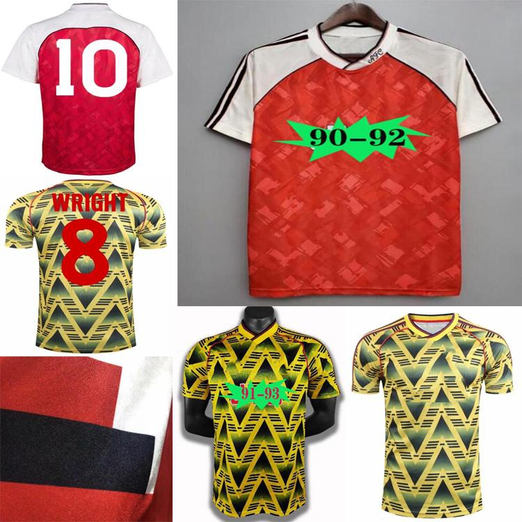 Top Quality1990 1992 Arsen Ian Wright Tony Adams Cole Retro Soccer Jersey 90 92Rocastle Dixon Campbell Merson Smith Adulto Camisa de Futebol