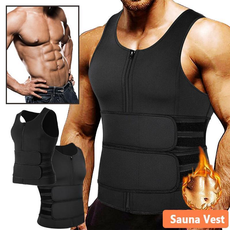 Mens cintura treinador shaper corpo neoprene sauna colete zipper duplo ajustável exercício terno trimmer