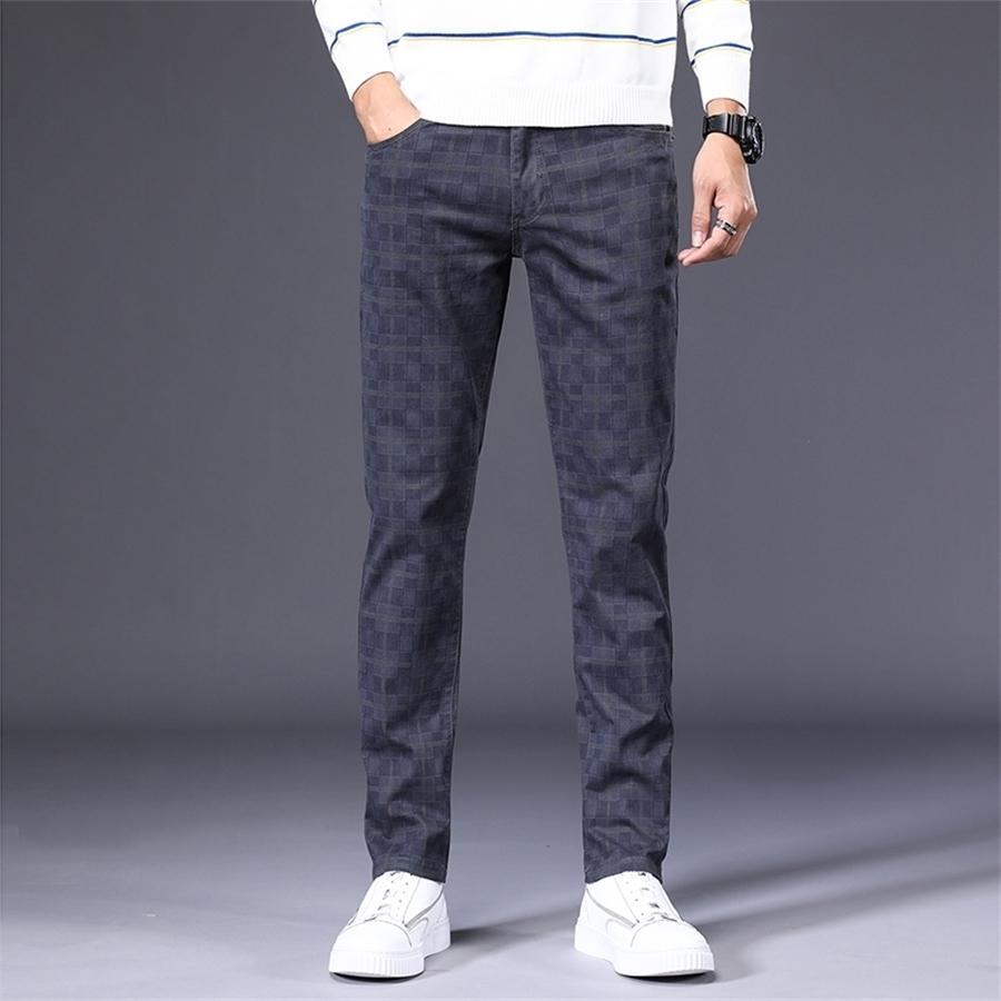 Мужские тонкие пледа вскользь брюки осень бренда одежда высококачественный хлопок растягиваю молодежь мода подходит брюки большого размера 28-42 201106