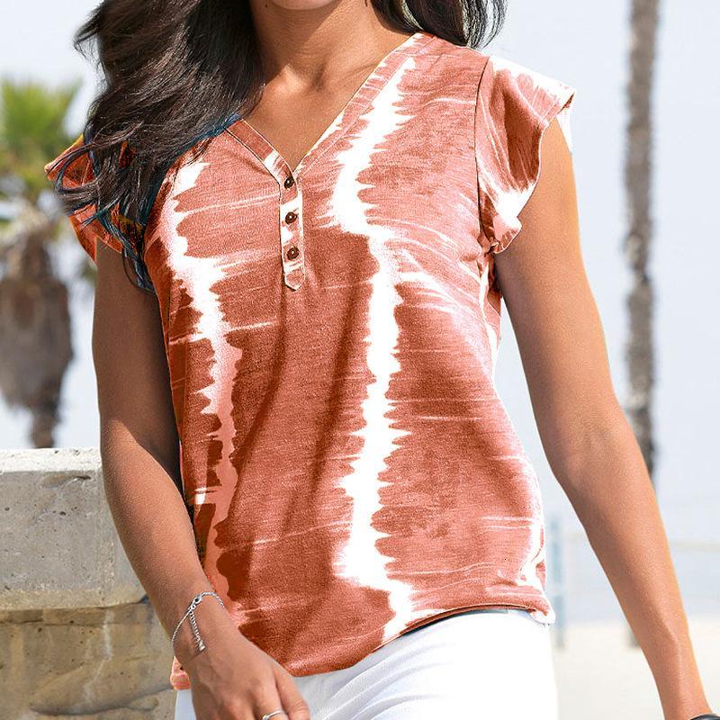 Yeni Yaz Tshirts Kadınlar Kravat Boya Üst Bayanlar Kısa Düğmeleri Harajuku Kadın Moda Gömlek U0G1