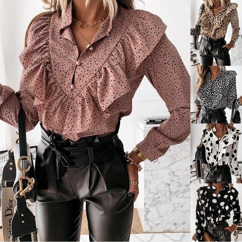 DOT Print Ruffle Bluse-Hemd Autumn Casual Leopard Winter Langarm Damenhemden Elegante Büro Dame V-Ausschnitt Button Tops Hemd