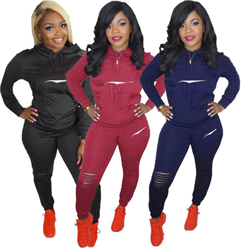 Designer Women Sweatsuis 2 Pezzo Abiti strappati Jogger Suits TrackSuits Fall Winte Vestiti con cappuccio a maniche lunghe + Leggings 3XL Sportswear 4159