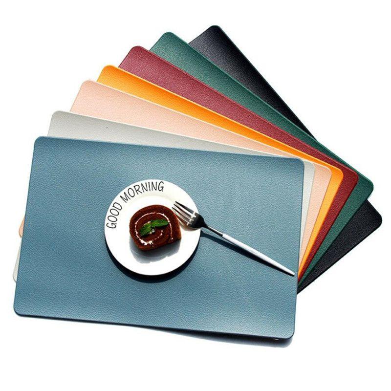 Faux Pu en cuir Placements de table résistant à la chaleur étanche Tapis de table résistant à la tache Résistant résistant aux taches pour table de cuisine