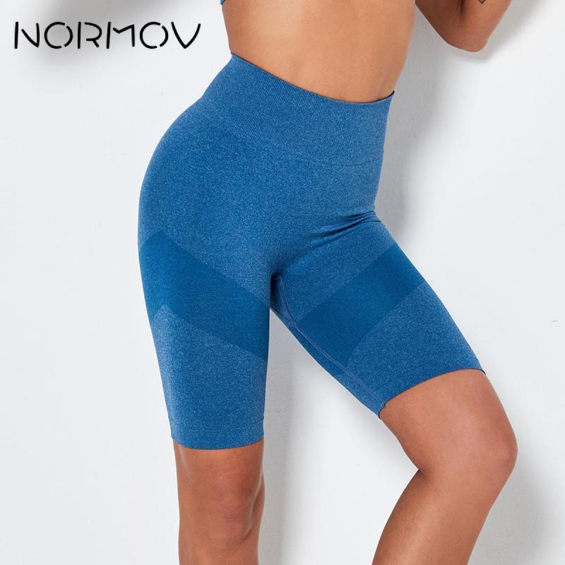 Outfits Yoga Normov Shorts Fitness Mulheres Cintura alta Atlético Ginásio Sexy Scrunch Quick Seco Workout Esportes 2021 Black1