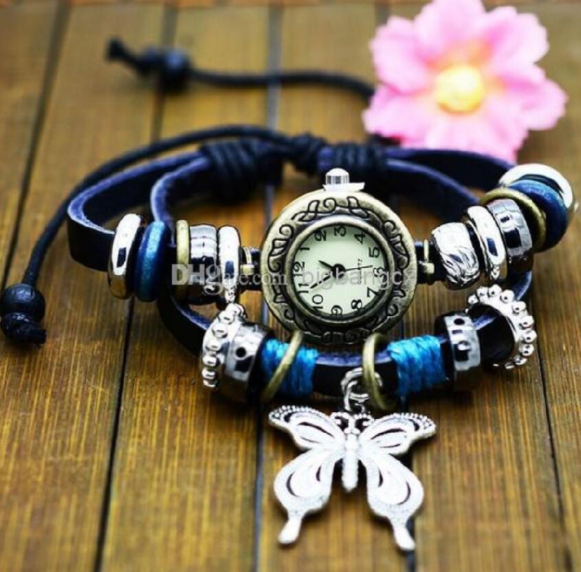 Nueva teja de la cuerda mariposa colgante encanto mujeres relojes negro cuero genuino trundle aro brazalete relojes vintage indio retro reloj de pulsera