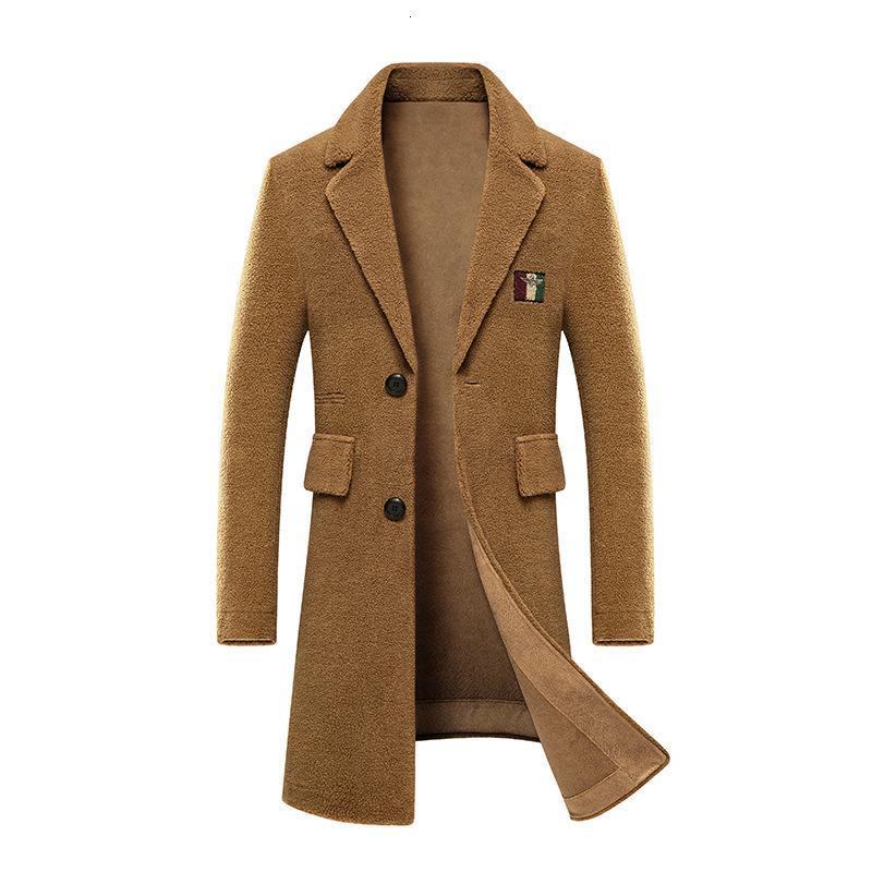 Зимняя шерстяная пальто мужской средней и длинной зерновой шерстяной овечьей шерсти встроенная меховая замша