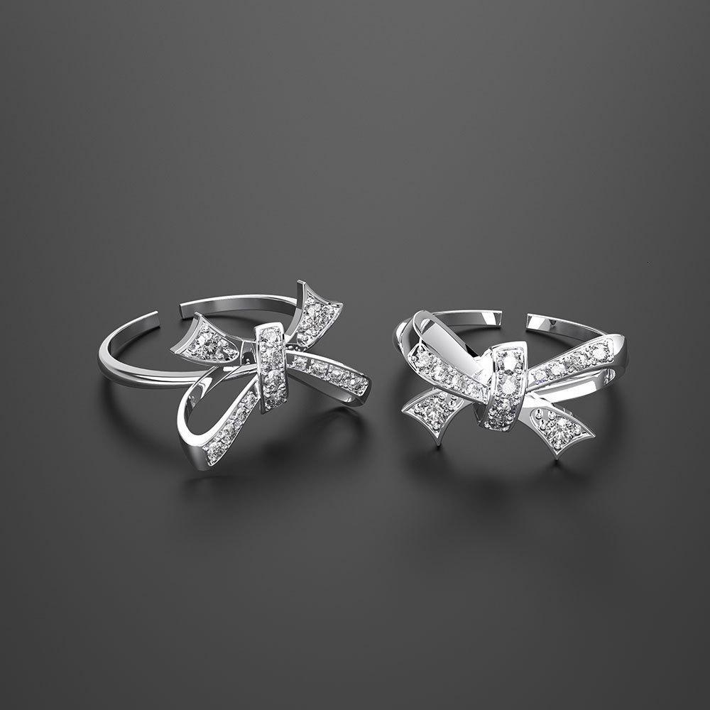 HBP moda luxo novo anel de arco mulheres incrustadas zircônio jóias requintadas high-end de Japão e Coreia do Sul