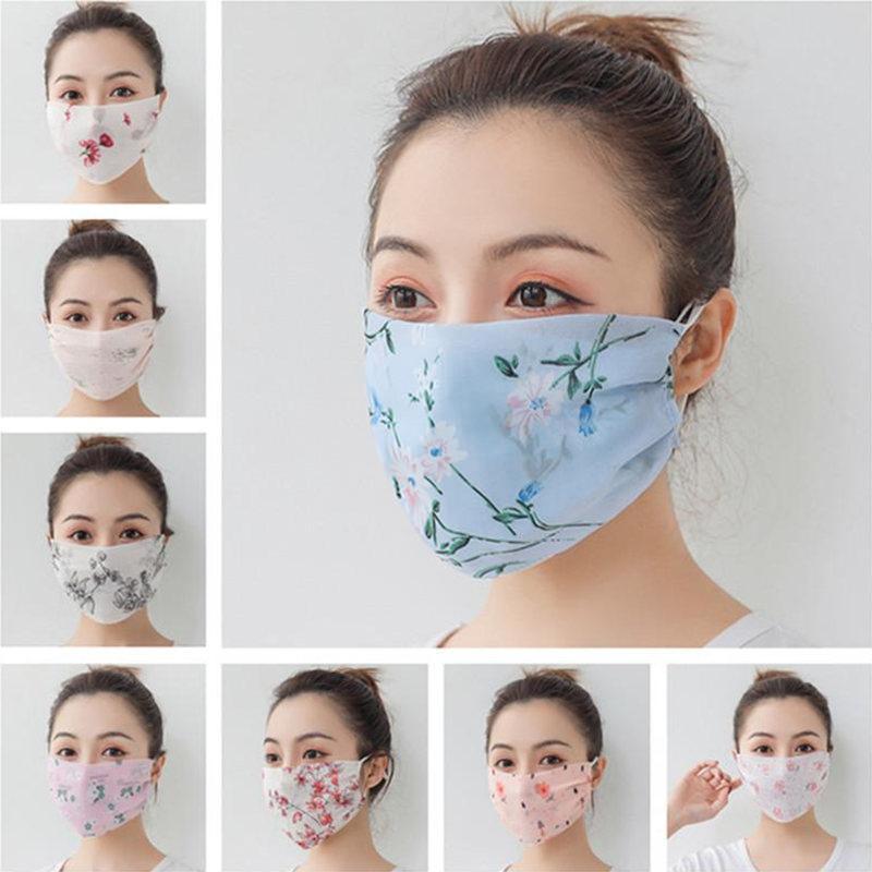 Silk Chiffon Mulheres Face Máscara Scarf Verão Floral Impressão Face Máscaras Anti Anti-UV Boca Máscara de Máscara Tampa Lavável Meninas Face Escudo Trabalho Lenço
