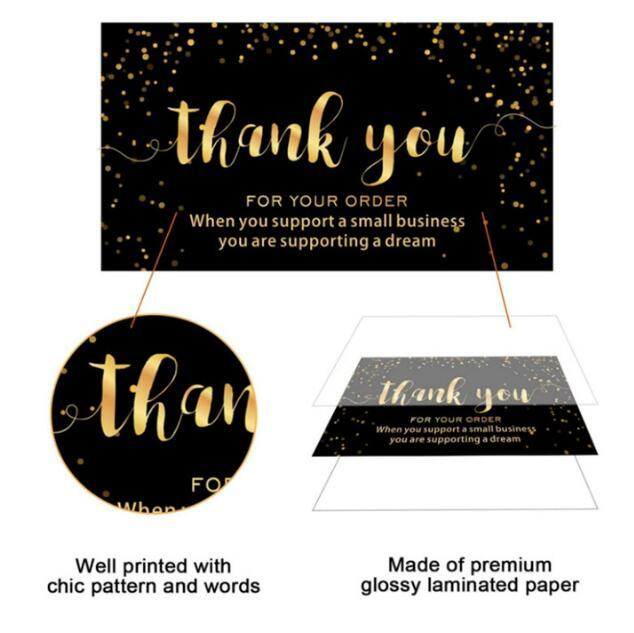 gifts Adhesive Stickers Greeting Cards 120pcs black Thank You For your order 50mm*88mm with gold letters for supporting my small business