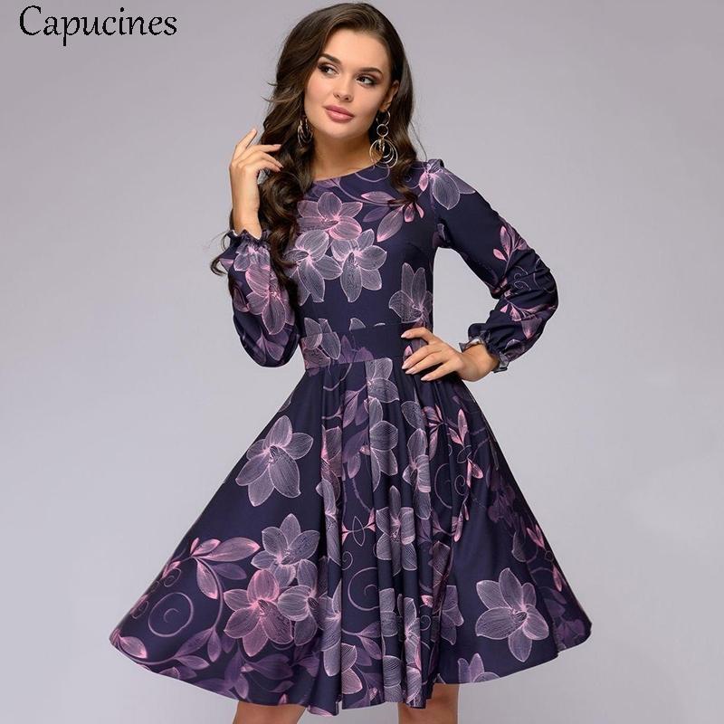 Moda Baskı A-Line Sonbahar Elbise Kadınlar Zarif Vintage Ruffles O-Boyun Uzun Kollu Kulübü Parti Mini Elbiseler Vestidos 210303