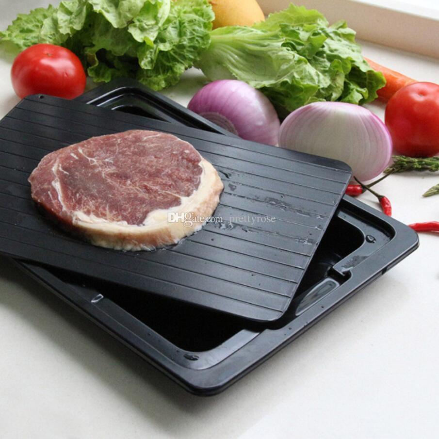 Aluminio Fast Defrosting Bandeja Carne Shawing Fresh Sano Sano Rápido Placa De Descongelamiento Food Gadgets Herramientas de Cocina