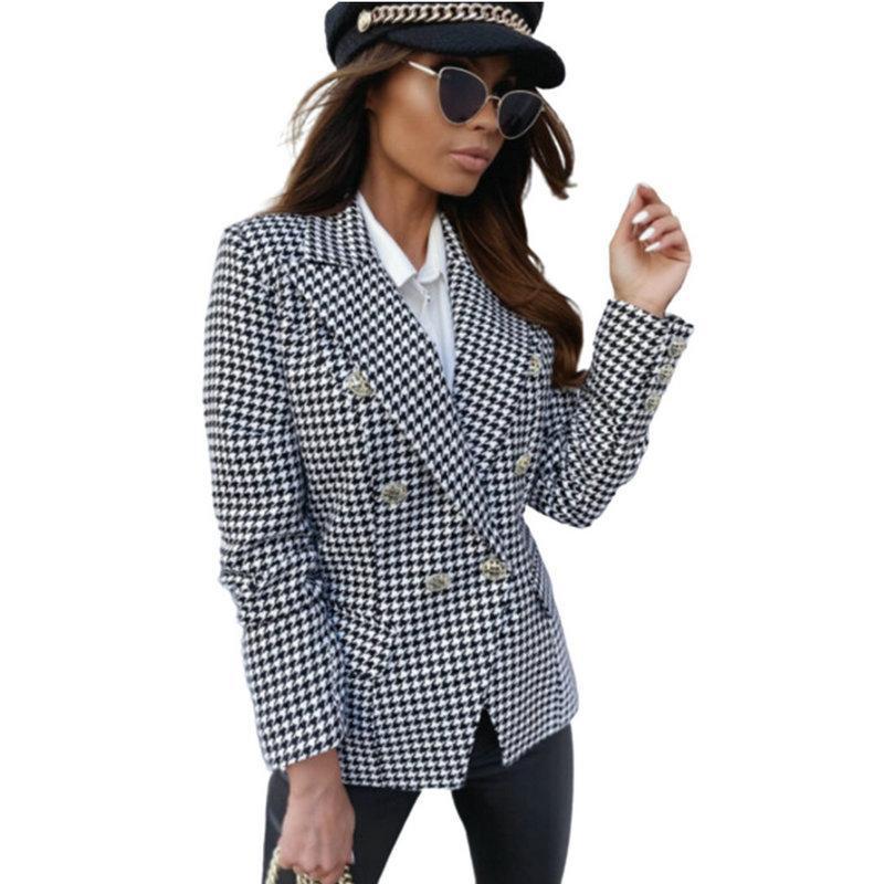 S2CityLife Damen langärmliges Plaid-gedruckte zweireihige kleine Anzugjacke