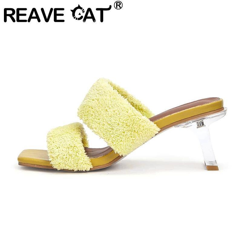 Сандалии Reave Cat 2021 Женские квадратные открытый носок кристалл прозрачный середины каблуки желе шерсть сексуальный открытый женский лето A3418