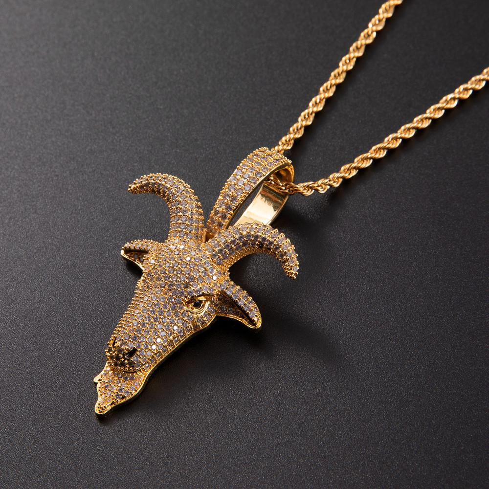 Micro Pave Animal Sheep Head Pendant Gold Silver Plated Zircon Hip Hop Necklace For Men Rock Chain Jewelry