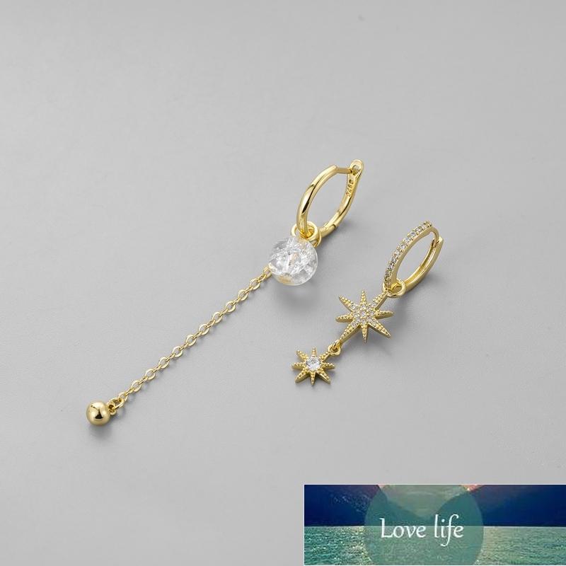 925 Sterling Silver New Clear Bead Star Asymmetric Hoop Earrings Shiny Cubic Zircon Long Tassel Earrings For Women S-E1094