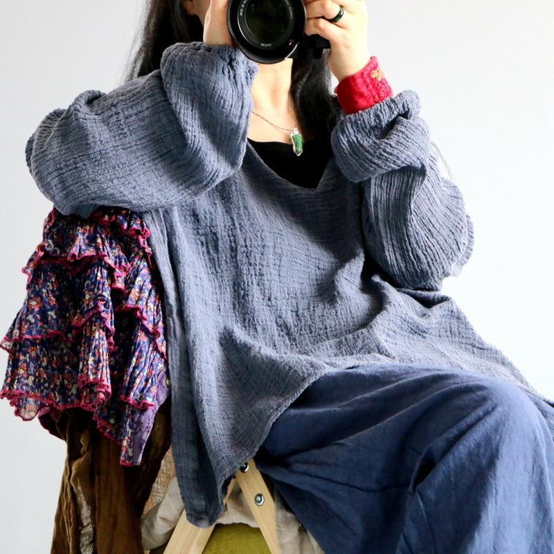 Outono johnature 2021 linho vintage cor sólida camisetas O-pescoço de manga cheia nova solta casual pulôver mulheres t- tq3y