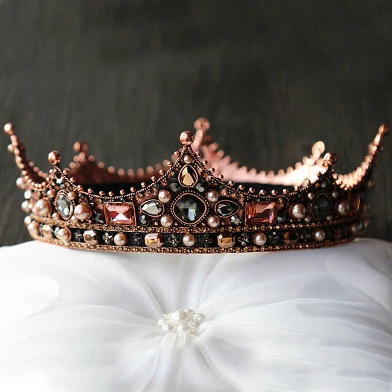 Forseven Brautschmuck volle Kreis Perlen Perle Kristall Tiaras Kronen DIADEM Kopfschmuck Frauen Hochzeit Haarschmuck Jl