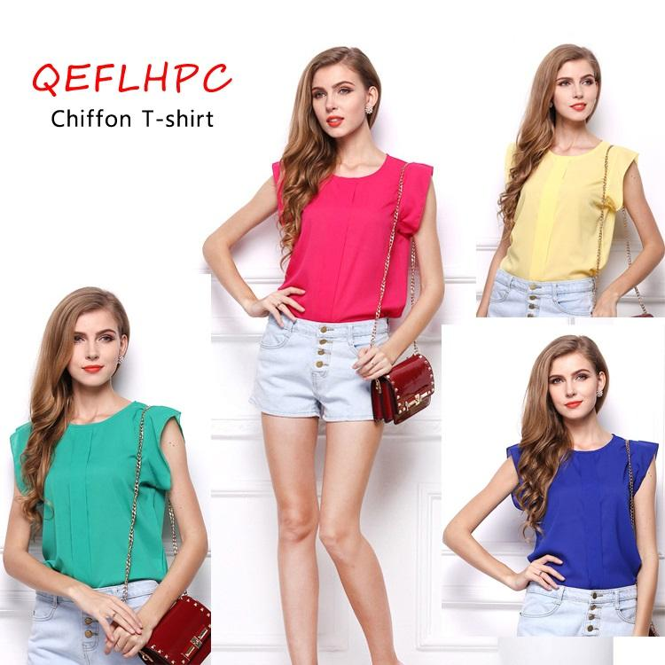 Женщины шифон футболка с коротким рукавом верхняя одежда оптом желтый / синий / зеленый цвет без рукавов экипаж шеи свободные женские топы Tees J0011