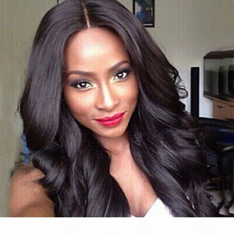 Nuova simulazione della Virgin Brasiliana Parrucche anteriori del pizzo del pizzo dei capelli del merletto Glueless Parrucche sintetiche dei capelli sintetici ondulati con le donne nere