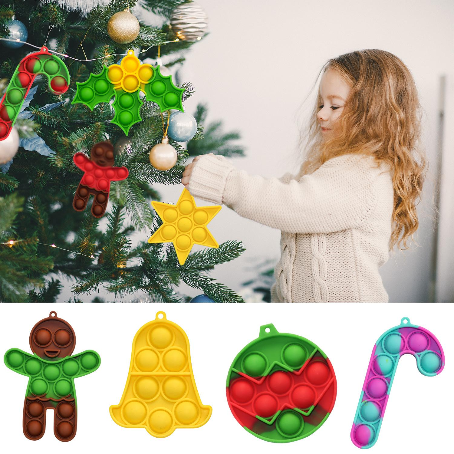 Christmas Fidget Giocattolo Mini Simple Simple Dimple Keychain Push Bubble Decompressione Giocattoli Partito Favore Educativo Adulto Interactive PartyGame Divertente Anti-Stress Regalo di sollievo