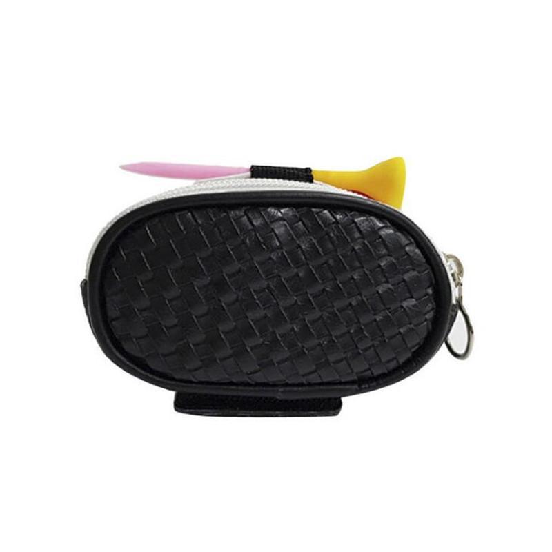 Pu pequeno bolsa de bola de golfe mini sacos de golfe com tee posicionar zíper pequeno bolso unisex preto branco l0302