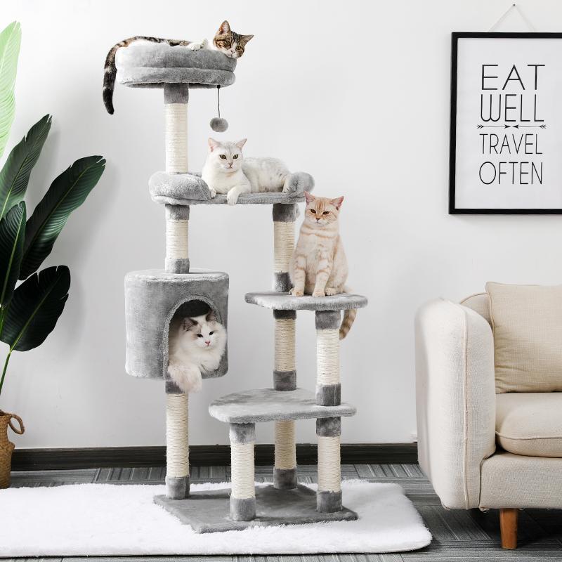 2021 Nova Torre de Árvore de Gato Gatinho Multi-Nível Gatinho Casa com Condomínio Teddy Acolhy e Polos de Risco de Sisal NQDV